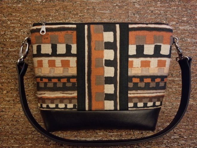 Shoulder Bag with Tribal Fabric